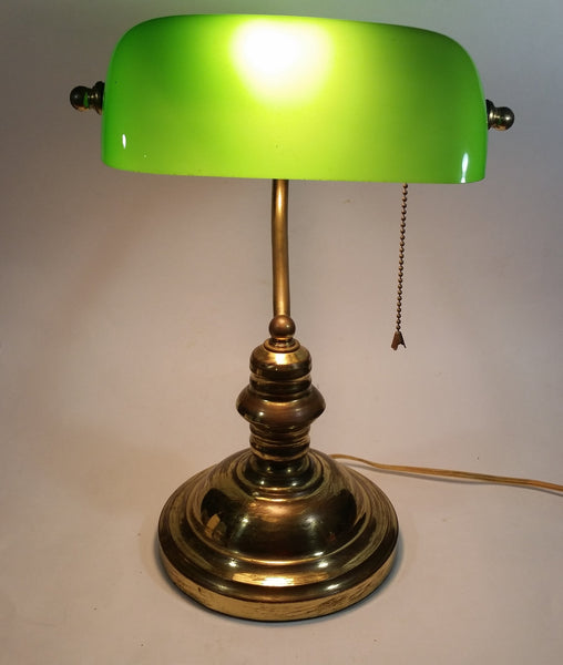 "Vintage Curved Green Glass on Brass Bankers Desk Lamp 14 1/2"" Tall"