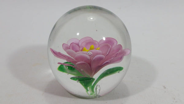 Very Pretty Edinburgh Pink Flower Spherical Art Glass Paperweight