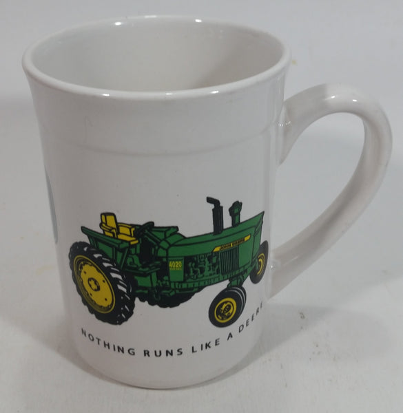 "Gibson John Deere Tractors ""Nothing Runs Like A Deere"" 4 3/4"" White Ceramic Coffee Mug Farming Collectible"