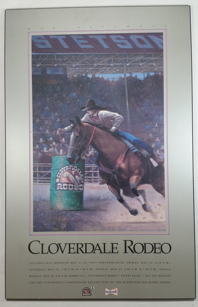"1993 World Famous Cloverdale Rodeo 20"" x 31"" Large Wall Plaque Advertisement British Columbia Western Cowboy Collectible - Stetson - Budweiser"