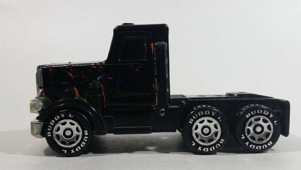 Vintage 1980 Buddy L Peterbilt Semi Truck Tractor Rig Black Pressed Steel and Plastic Toy Car Vehicle
