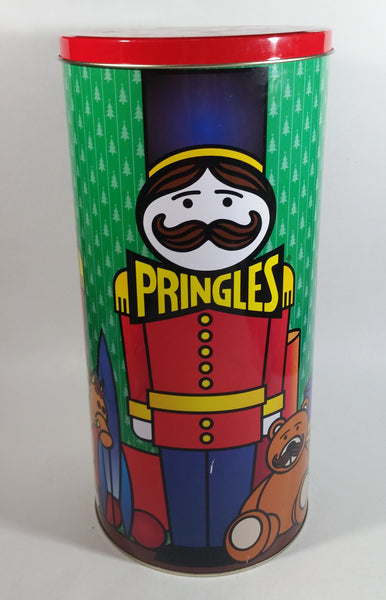 "1999 Pringles Chips 14"" Tall Nutcracker Christmas Theme Large Tin Canister Food Collectible"