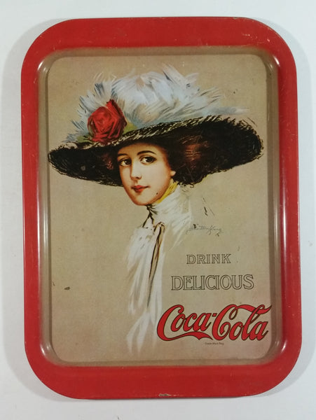 "Vintage 1971 Coca-Cola ""Drink"" ""Delicious"" Hamilton King 1909 Pinup Girl Red Metal Beverage Serving Tray Coke Cola Soda Pop Collectible"