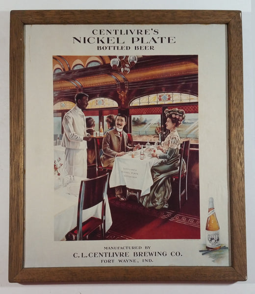C.L. Centlivre Brewing Co. Nickel Plate Bottled Beer 1930s Wood Framed Paper Advertisement - Fort Wayne, Indiana