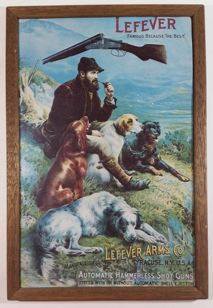 Lefever Arms Co. Manufacturers of Automatic Hammerless Shot Guns Wood Framed Paper Advertisement - Syracuse, N.Y., U.S.A.