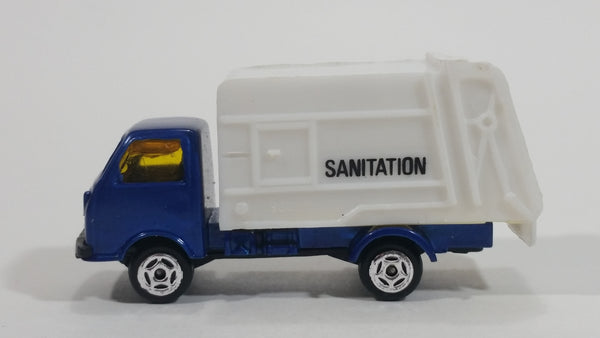 Unknown Brand Sanitation Garbage Dump Truck Blue White Die Cast Toy Car Vehicle