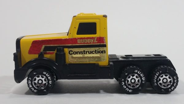 Vintage 1985 Buddy L Construction Semi Truck Tractor Rig Yellow Pressed Steel and Plastic Toy Car Vehicle