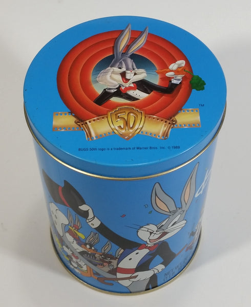 1989 Warner Bros Looney Tunes Happy Birthday Bugs Bunny 50th Anniversary Brach's Jelly Beans Tin Canister Cartoon Collectible