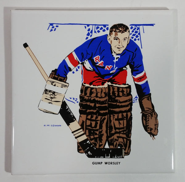 Extremely Rare and HTF Vintage 1962-63 Screenart Products Ltd. H.M. Cowan NHL New York Rangers Ice Hockey Team Goalie Gump Worsley Ceramic Tile Trivet with Cork Backing