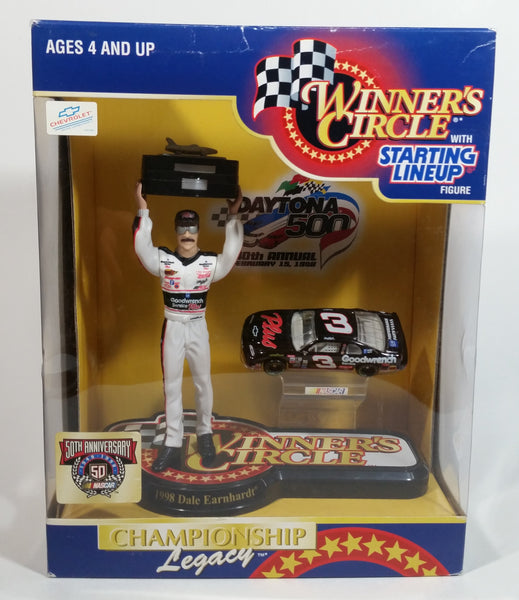 "1998 NASCAR Winner's Circle 1998 Champion Dale Earnhardt 6 1/2"" Figure with 1/64 Scale Chevrolet Monte Carlo #3 Goodwrench Die Cast Toy Car Vehicle In Original Packaging"