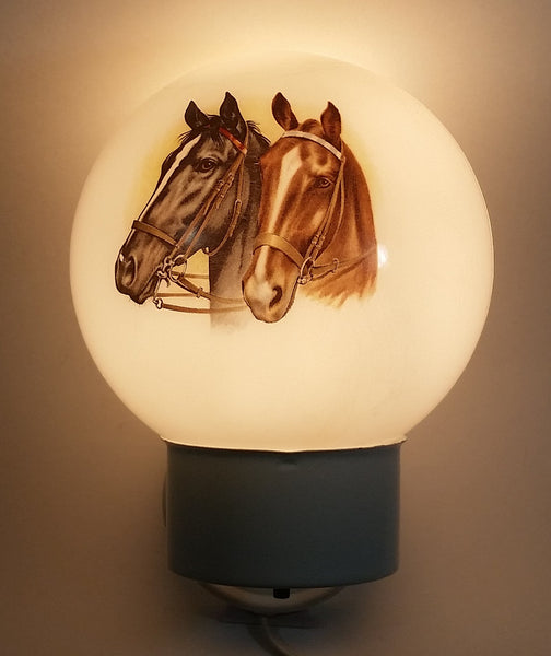 Rare Glass Globe Two Horses Black and Brown White Hanging Plugin Wall Sconce Light Lamp