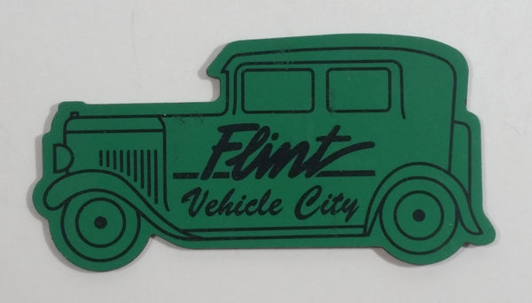 Flint Vehicle City Green Classic Car Shaped Fridge Magnet Michigan Automotive Travel Collectible