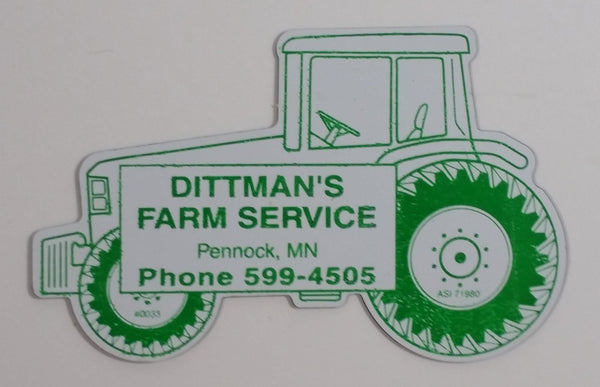Dittman's Farm Service Pennock, Minnesota Green and White Farm Tractor Shaped Magnet
