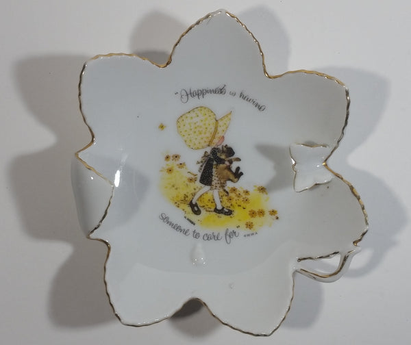 "Vintage 1973 Holly Hobbie ""Happiness is having someone to care for"" Butterfly on Flower Porcelain Dish"