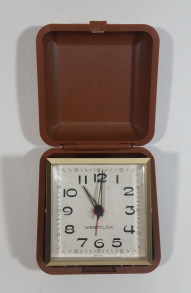 Vintage Westclox Pocket Size Folding Travel Alarm Clock in Case Working
