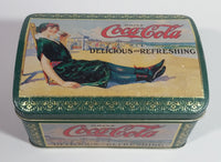 Drink Coca-Cola Delicious and Refreshing Girl on the Beach Green Hinged Tin Container Soda Pop Collectible