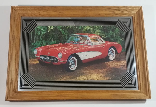 Rare 1957 Red Corvette Hard Top Classic Car Wood Framed Advertising Mirror Collectible