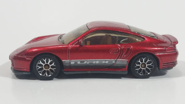 2005 Matchbox Buried Treasure Porsche 911 Turbo Metalflake Red Die Cast Toy Luxury Sports Car Vehicle