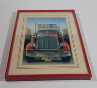"1979 Peterbilt Semi Truck with Thermoking Refrigerator Trailer 7 1/2"" x 9 3/4"" Print in Red Frame"