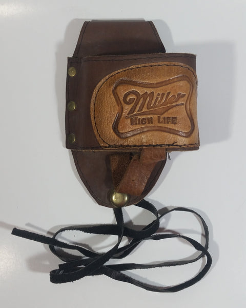 Rare Miller High Life Leather Clip On Beer Holster Holder Bar Collectible