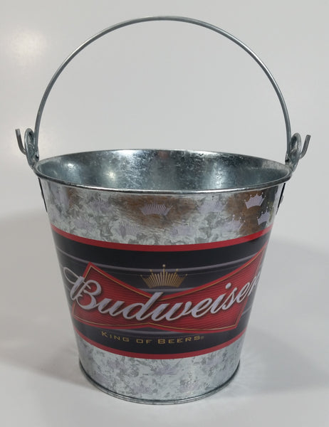 2006 Anheuser-Busch Budweiser King of Beers Galvanized Metal Ice Bucket Pail with Handle Bar Beer Collectible