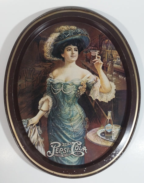 "Vintage 1970s Pepsi Cola ""Lady Gibson"" Oval Brown Border Beverage Metal Serving Tray"