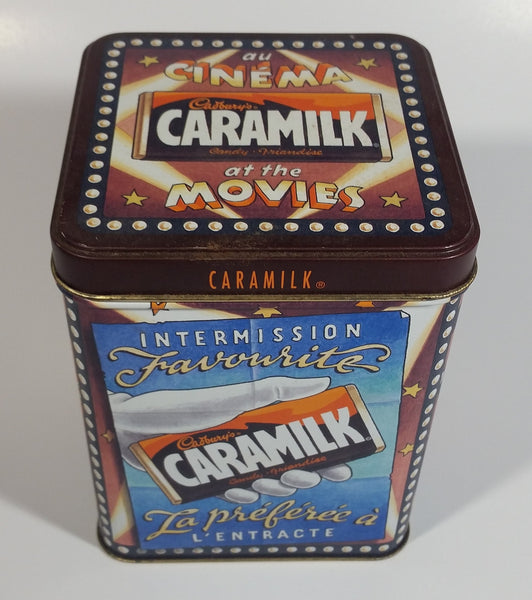 Cadbury's Caramilk at the Movies Chocolate Candy Bar Cinema Film Themed Tin Metal Hinged Container 1 of 3 in Series Snack Sweets Collectible