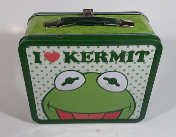 The Muppets I Heart Love Kermit The Frog Green and White Tin Metal Lunch Box