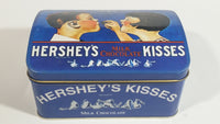 "1999 Vintage Style Hershey's Kisses Milk Chocolate Snacks ""A Kiss For You"" Boy and Girl Blue Metal Tin Hinged Container"