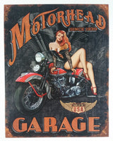 "Motorhead Garage Since 1939 Babe on a Bike 12 1/2"" x 16"" Tin Metal Sign Motor Cycles Motorbike Collectible"