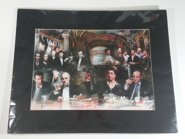 "Gangster Collage of Television Movie Film Mob Mafia Bosses Signed Color Illustration 16"" x 20"" - Godfather Scarface The Sopranos - Signed by Artist"
