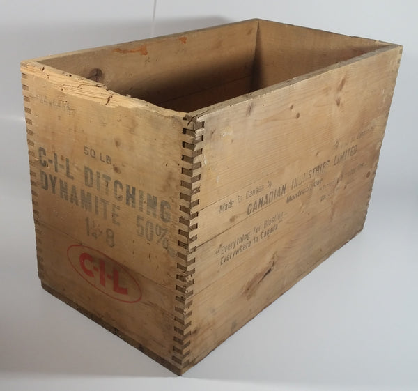 Vintage Canadian Industries Limited C-I-L Ditching Dynamite 50% High Explosives Dovetail Wood Crate Box Blasting Collectible - Montreal, Quebec