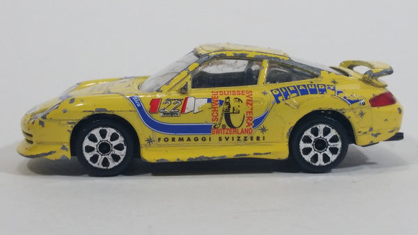 Burago Super Cup Porsche 911 Mobil 1 Formaggi Svizzeri Yellow 1:43 Scale Die Cast Toy Car Vehicle