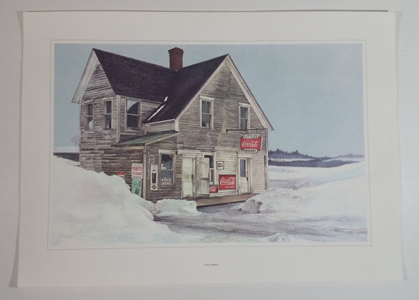 "Vintage 1972 Tom Anthes Coca-Cola Abandoned Littles Grocery Store Print Sign Lithograph No Frame Just the Print 9 3/8"" x 14 3/8"""