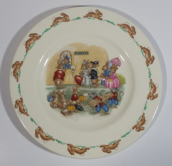 "Vintage Royal Doulton English Fine Bone China Bunnykins ""Tickets"" Queue Office 6 1/2"" Plate"