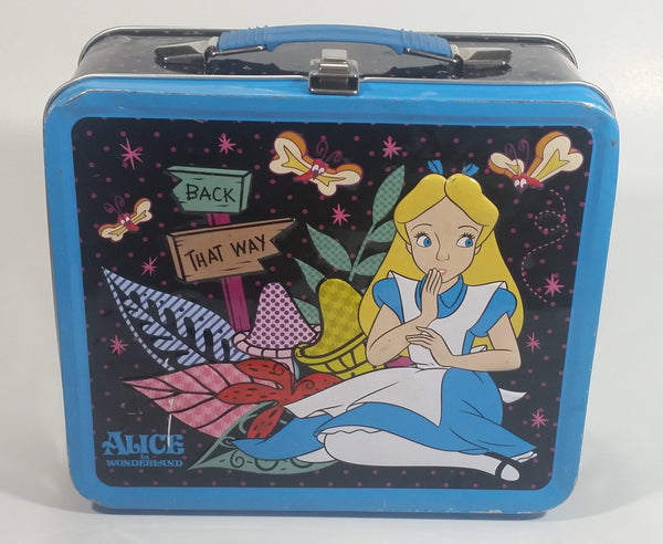"Disney Alice In Wonderland ""Back"" ""That Way"" Blue and Black Tin Metal Lunch Box"