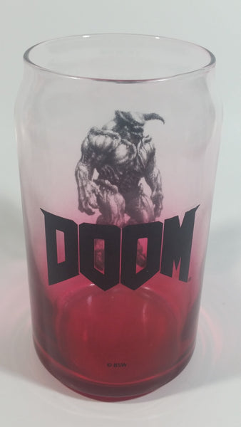 "Doom Computer and Video Game Can Shaped Red and Clear 5 1/4"" Tall Glass Cup"