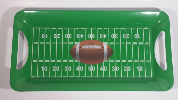 Gridiron Nation Green Football Field Themed Melamine Plastic Appetizer Serving Tray with Handles