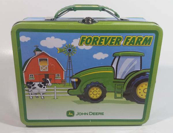 "John Deere ""Forever Farm"" Tractor and Barn Themed Kids Tin Metal Lunch Box Farming Collectible"