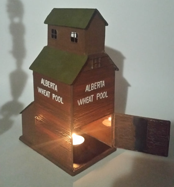 Alberta Wheat Pool Glass and Tin Metal Painted Brown Grain Elevator Candle Holder Western Canada Prairie Town Collectible
