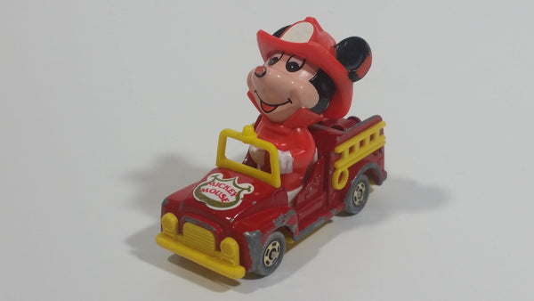 Vintage Tomy Walt Disney Production No. PD-2 Mickey Mouse Fireman Red and Yellow Plastic and Die Cast Metal Toy Car Fire Truck Firefighting Vehicle