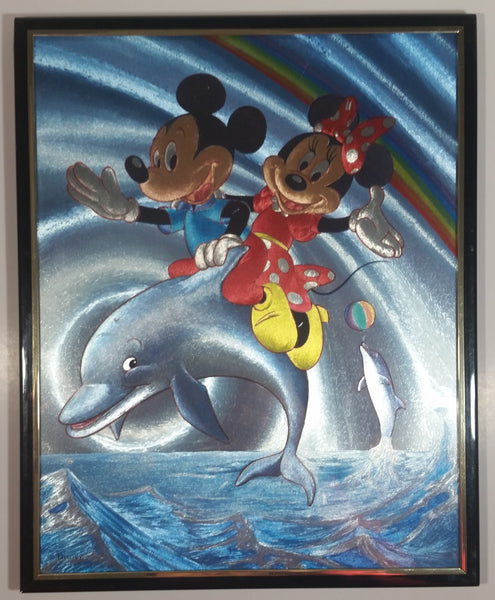 Magic Effects Disney Mickey Mouse and Minnie Mouse Riding a Dolphin Under a Rainbow Framed Art Print Picture Cartoon Character Collectible