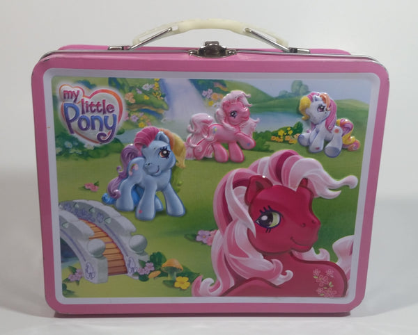 2007 TIN BOX Hasbro My Little Pony Cartoon Characters Pink Metal Tin Lunch Box