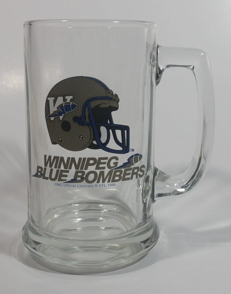 CFL Canadian Football League Winnipeg Blue Bombers Sports Team Glass Beer Mug Collectible