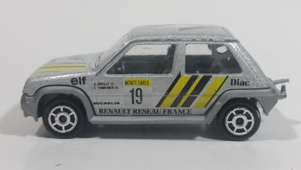 Rare HTF 1985 Majorette Renault Supercinq GT Turbo No. 205 Silver Grey Die Cast Toy Car Vehicle 1/51 Scale