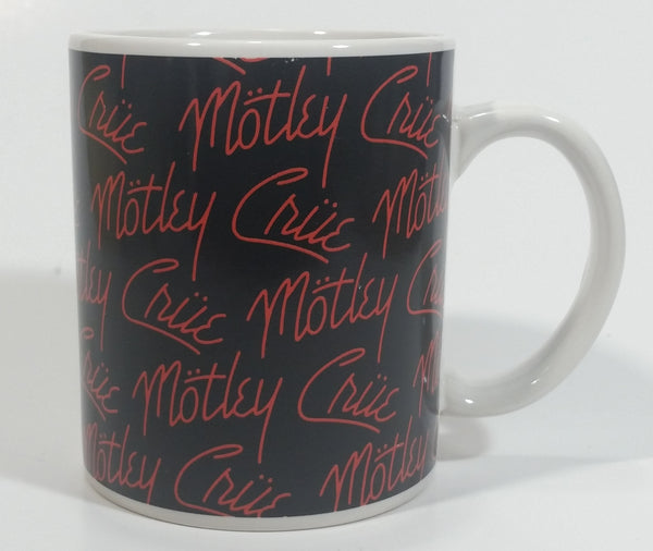 2009 Motley Crue Black with Red Writing Ceramic Coffee Mug Music Rock Band Collectible