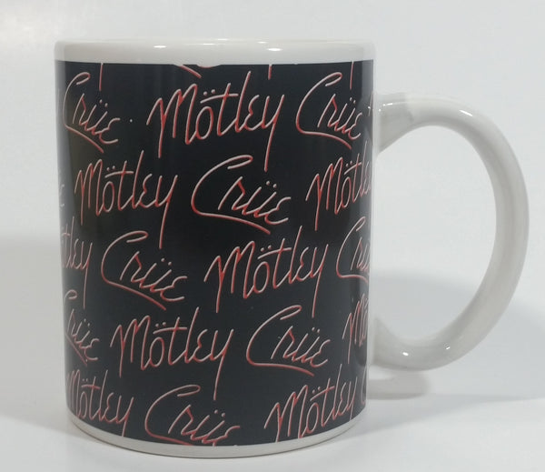 2009 Motley Crue Black with Red Writing Ceramic Coffee Mug Music Rock Band Collectible - Faded