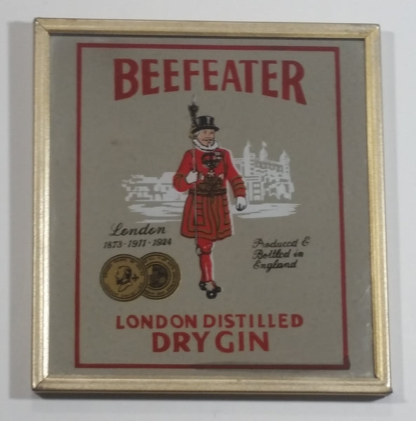 "Vintage Beefeater London Distilled Dry Gin Small Little Wood Framed Pub Lounge Bar Advertising Mirror 5 3/4"" x 5 1/2"""