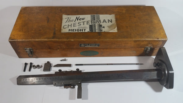 "Rare Find Antique Geo. Scherr Co. Chesterman Precision Tools Scheffield England 24"" Height Gauge Engineer Measurement Device Tool In Original Dove Tail Wooden Box with Instruction and Accessories"