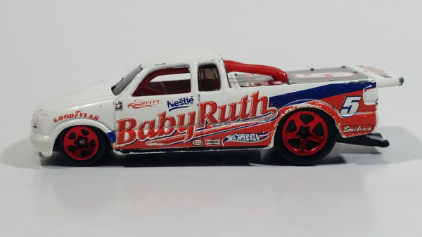 2002 Hot Wheels Sweet Rides Nestle Baby Ruth 1998 Chevy Pro Stock S10 Truck White Die Cast Toy Race Car Vehicle